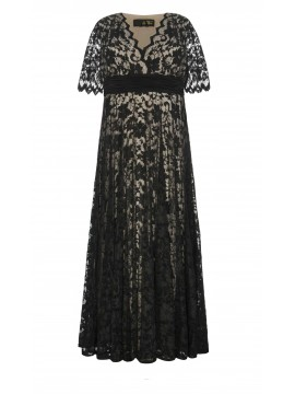 Empire Waist Lace Gown in Black and Nude