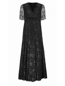 Empire Waist Lace Gown in Black