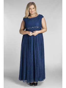 Floor Length Plus Size Lace Dress in Peacock Blue