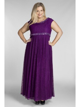 Floor Length Plus Size Lace Dress in Violet