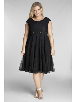 Plus Size Lace Dress with Beadning in Black