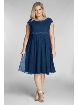 Plus Size Lace Dresswith Beading in Blue