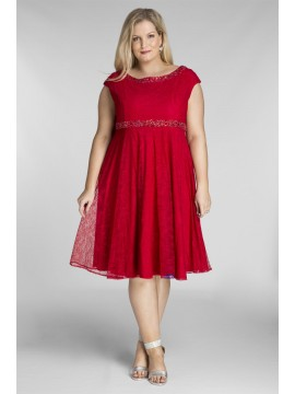 Plus Size Lace Dress with Beading in Red