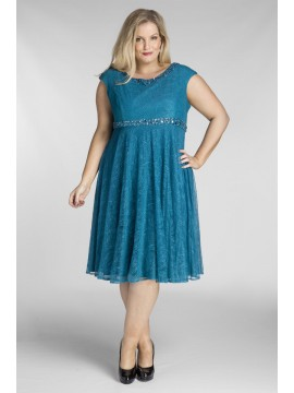 Plus Size Lace Dress with Beading in Teal