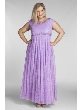 Floor Length Plus Size Lace Dress in Lilac