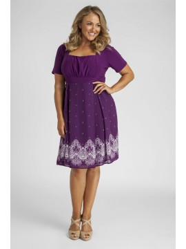 Ladies Plus Size Printed Chiffon and Jersey Dress in Purple