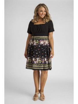 Ladies Plus Size Printed Chiffon and Jersey Dress in Black Floral