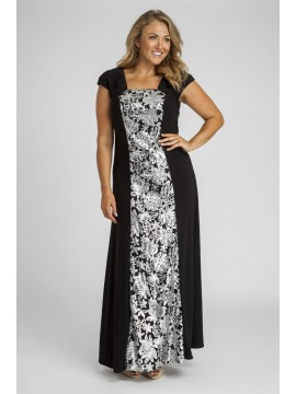 Sequin and Jersey Panel Evening Gown in Gold Sequin