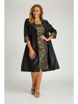 Stunning Sequin Lace Dress and Jacket 2 Piece Set in Black