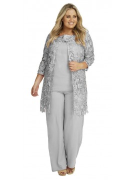 Special Occasion Lace and Chiffon Pant Set