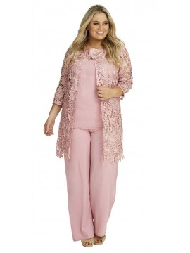 Special Occasion Lace and Chiffon Pant Set in Pink