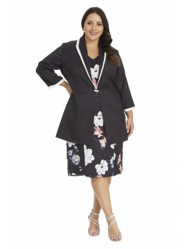 Black Floral Print Sateen Dress and Jacket