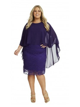 Ladies Lace Dress and Chiffon Overlay in Purple