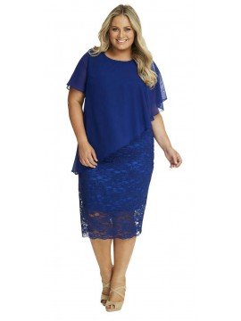 Ladies Lace Dress and Chiffon Overlay in Royal Blue