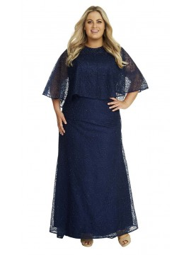 Crystal Studded Caped Evening Gown in Navy
