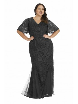 Lace Flutter Sleeve Evening Gown in Black
