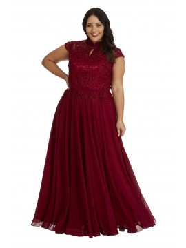 Full Length Chiffon and Lace Dress in Red