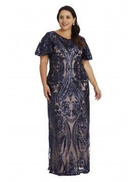 Patterned Sequin Evening Dress in Navy and Nude