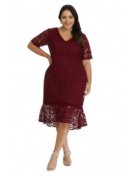 Elegant Frill Dress with Sleeve in Red