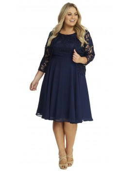 Special Occasion Lace and Chiffon Dress and Jacket in Navy