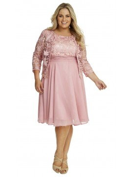 Special Occasion Lace and Chiffon Dress and Jacket in Pink