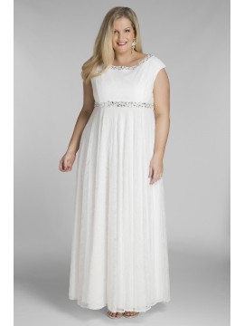Floor Length Plus Size Lace Wedding Dress
