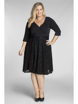 Plus Size Jersey Dress in Black Lace