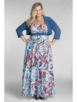Plus Size Blue Print Jersey Maxi Dress