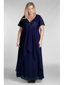 Floor Length Chiffon Evening Dress with hand beading on Navy