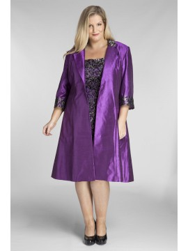 Stunning Sequin Lace Dress and Jacket 2 Piece Set in Violet