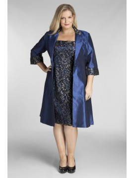 Stunning Sequin Lace Dress and Jacket 2 Piece Set in Sapphire