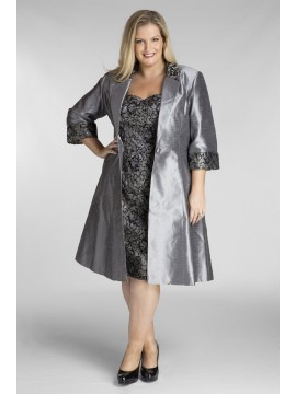 Stunning Sequin Lace Dress and Jacket 2 Piece Set in Charcoal