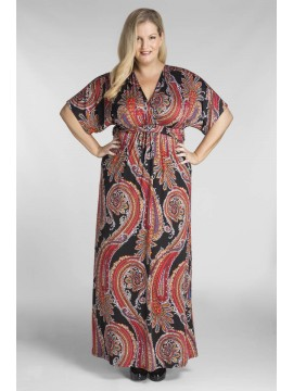 Plus Size Jersey Maxi Dress in Paisley Print