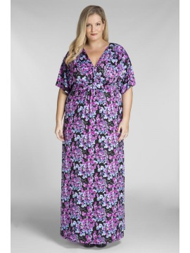 Plus Size Jersey Maxi Dress in Blossom Print