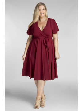 Plus Size Jersey Dress in Burgundy