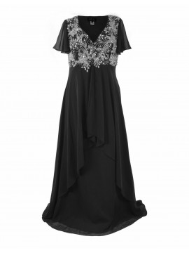 Floor Length Chiffon Evening Dress with hand beading on Black