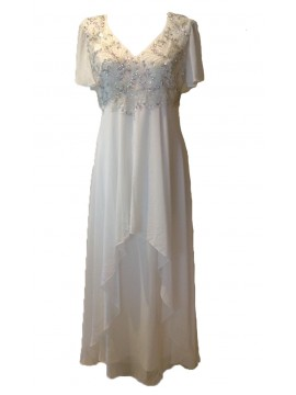 Floor Length Chiffon Evening Dress with hand beading in Off White