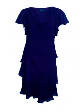 Plus Size Chiffon Layered Dress in Navy