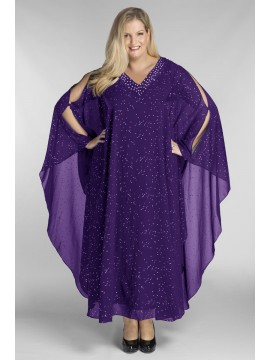 Floor Length Chiffon Overlay with Jersey Dress in Violet
