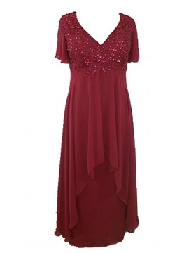 Floor Length Chiffon Evening Dress with hand beading