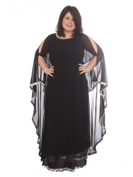 Evelyn Chiffon Overlay 3 way Dress - Black w/sequin border