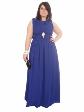 Blue Formal/Evening Dress - Full Length Gathered Chiffon