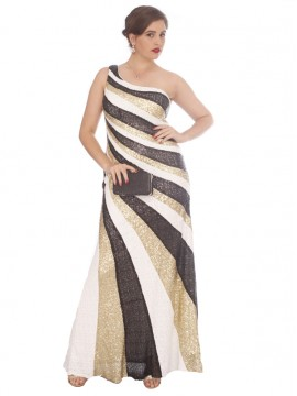 Formal / Evening Gown - One Shoulder Sequin Stripe